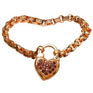 14k Rose Gold and Garnet Heart Charm Bracelet - Baltinester Jewelry