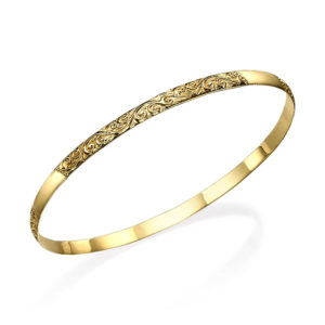 14k Gold Etched Swirls Moroccan Bangle Bracelet - Baltinester Jewelry