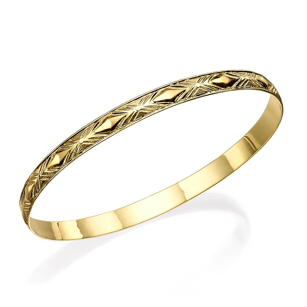 14k Gold Textured Bangle Bracelet - Baltinester Jewelry