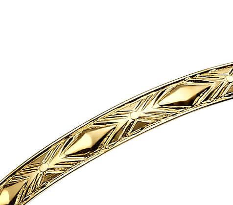 14k Gold Textured Bangle Bracelet 2 - Baltinester Jewelry