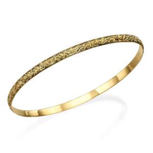 14k Gold Swirl Bangle Bracelet - Baltinester Jewelry