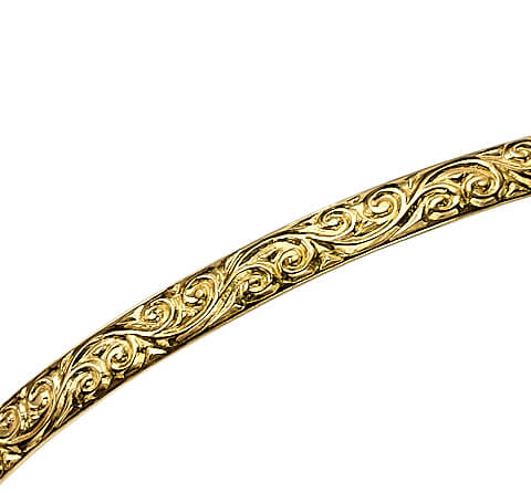 14k Gold Swirl Bangle Bracelet 2 - Baltinester Jewelry
