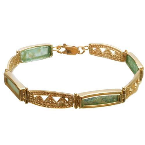14k Gold Roman Glass Yemenite Design Bracelet - Baltinester Jewelry