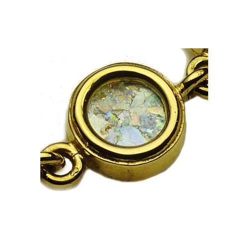 14k Gold Circles Roman Glass Bracelet 2 - Baltinester Jewelry