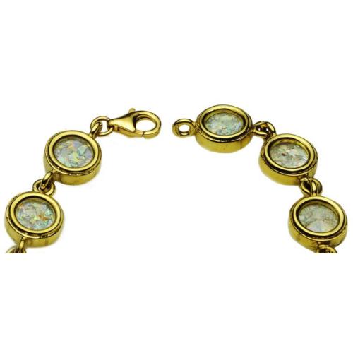 14k Gold Circles Roman Glass Bracelet 3 - Baltinester Jewelry