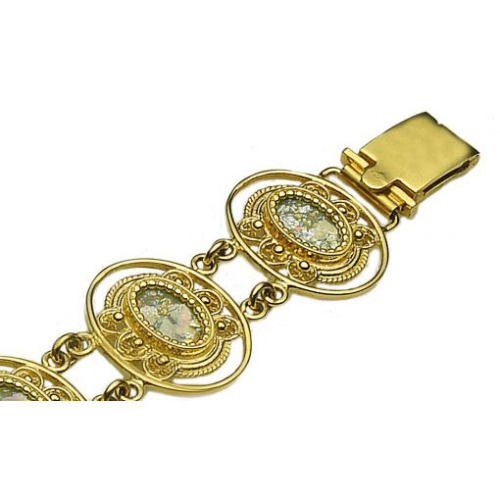 14k Gold Roman Glass Yemenite Bracelet 2 - Baltinester Jewelry
