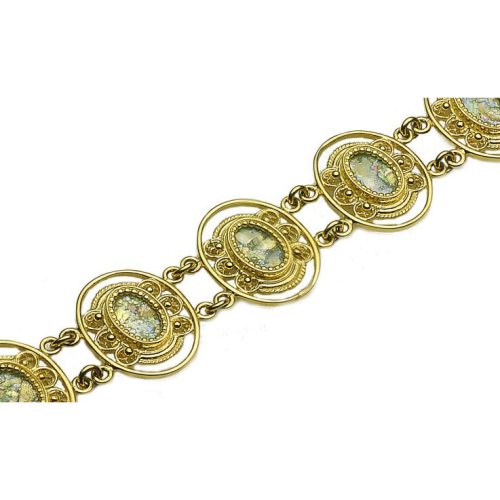 14k Gold Roman Glass Yemenite Bracelet 4 - Baltinester Jewelry