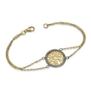 14k Yellow Gold and Diamond Shema Yisrael Bracelet - Baltinester Jewelry