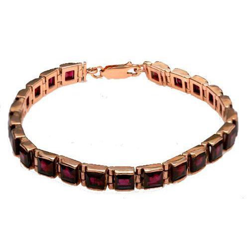 14k Rose Gold Garnet Tennis Bracelet - Baltinester Jewelry
