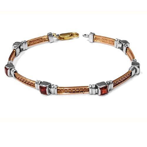 14k Yellow, White, and Rose Gold Garnet Bracelet - Baltinester Jewelry