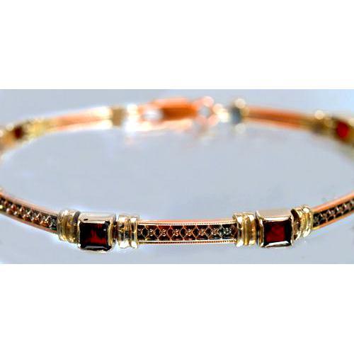14k Yellow, White, and Rose Gold Garnet Bracelet 2 - Baltinester Jewelry