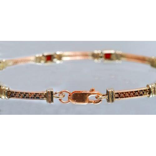 14k Yellow, White, and Rose Gold Garnet Bracelet 3 - Baltinester Jewelry
