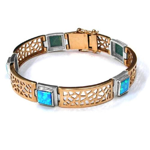 14k Rose and White Gold Opal Bracelet - Baltinester Jewelry