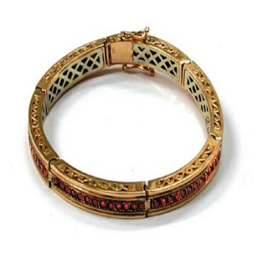 14k Rose Gold and Garnet Bracelet - Baltinester Jewelry