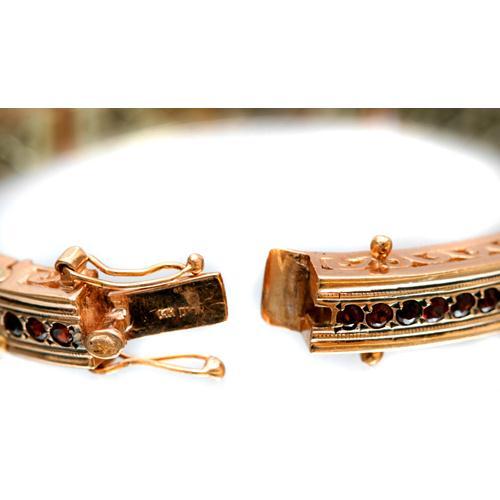 14k Rose Gold and Garnet Bracelet 3 - Baltinester Jewelry