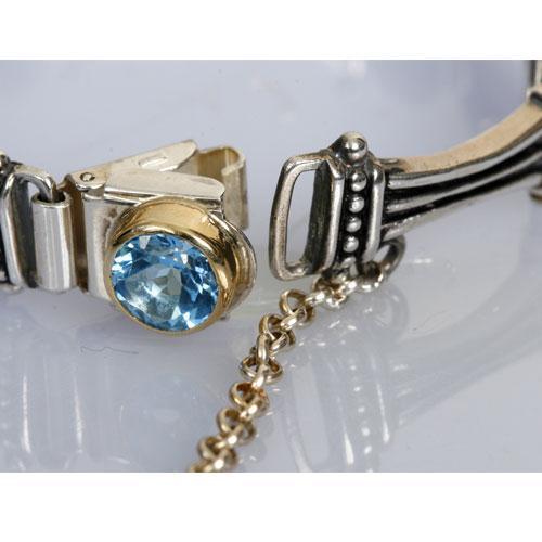 Silver and Gold Blue Topaz Bracelet 2 - Baltinester Jewelry