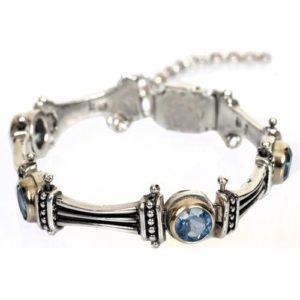Silver and Gold Blue Topaz Bracelet - Baltinester Jewelry