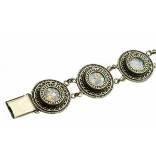 Sterling Silver Yemenite Roman Glass Bracelet 2 - Baltinester Jewelry
