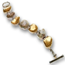 Silver and Gold Large Pebble Bracelet - Baltinester Jewelry
