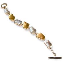 Silver & Gold Jerusalem Stone Bracelet - Baltinester Jewelry
