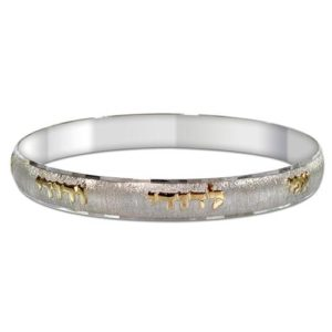 Silver and Gold Ani L'Dodi Brushed Bangle Bracelet - Baltinester Jewelry