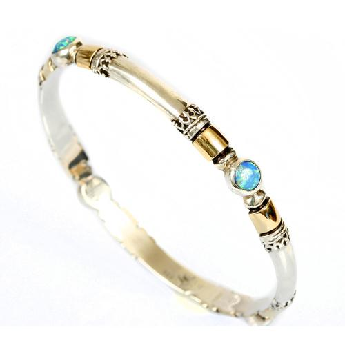 Silver and Gold Yemenite Opal Bangle Bracelet - Baltinester Jewelry