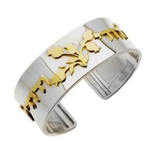 Silver and Gold Ani L'Dodi Cuff Bracelet - Baltinester Jewelry