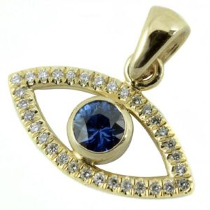 14k Gold Evil Eye Diamond and Sapphire Pendant - Baltinester Jewelry