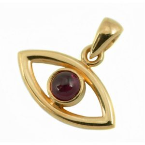 14k Gold Evil Eye and Garnet Pendant - Baltinester Jewelry