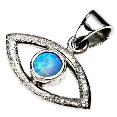 Diamond-Cut 14k White Gold Opal Evil Eye Pendant - Baltinester Jewelry