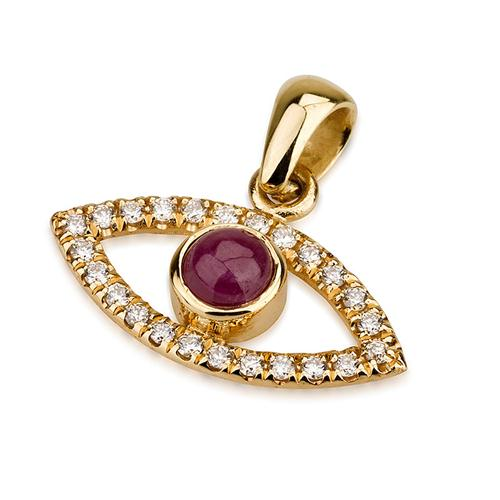 18k Gold Diamond and Ruby Evil Eye Pendant - Baltinester Jewelry