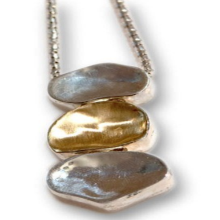 Silver and Gold Pebbles Necklace - Baltinester Jewelry