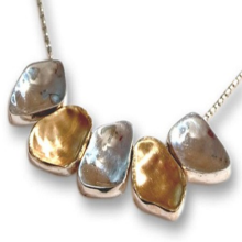 Silver and Gold Jerusalem Stone Necklace - Baltinester Jewelry