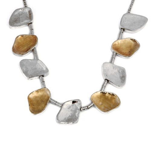 Silver and Gold Jerusalem Pebble Necklace - Baltinester Jewelry