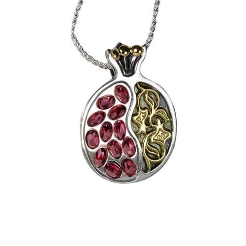 Ornamental Silver and Gold Pomegranate Garnet Necklace - Baltinester Jewelry