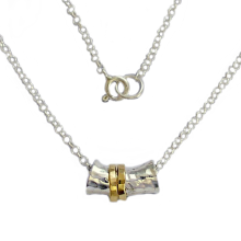 Sterling Silver and Gold Spinner Necklace - Baltinester Jewelry