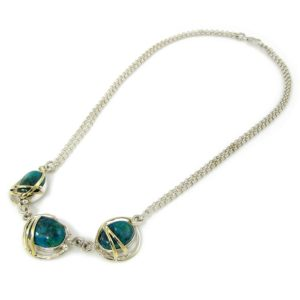 Silver and Gold Eilat Stone Necklace - Baltinester Jewelry