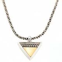 Silver Gold Triangular Yemenite Pendant Necklace - Baltinester Jewelry