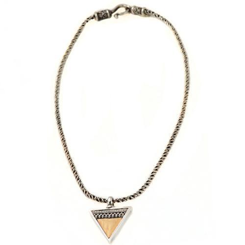 Silver Gold Triangular Yemenite Pendant Necklace 3 - Baltinester Jewelry
