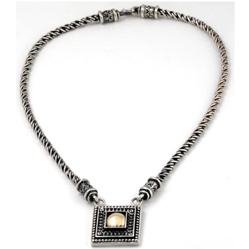 Silver and Gold Yemenite Pendant Necklace 3 - Baltinester Jewelry