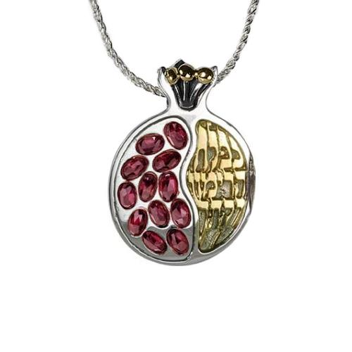 Silver and Gold Pomegranate Garnets Necklace - Baltinester Jewelry
