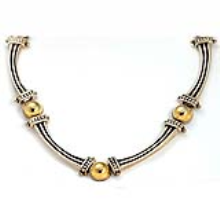 Silver and Gold Ethnic Necklace - Baltinester Jewelry