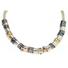 Tricolor Silver and Gold Oxidized Necklace - Baltinester Jewelry