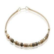 Tricolor Silver and Gold Cube Necklace - Baltinester Jewelry