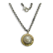 Hammered Silver and Gold Pearl Necklace - Baltinester Jewelry