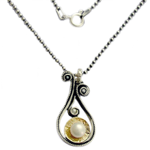 Silver and Gold Droplet Pearl Necklace - Baltinester Jewelry