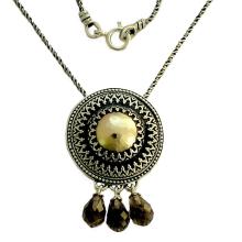 Silver and Gold Filigree Smoky Quartz Dangle Necklace - Baltinester Jewelry