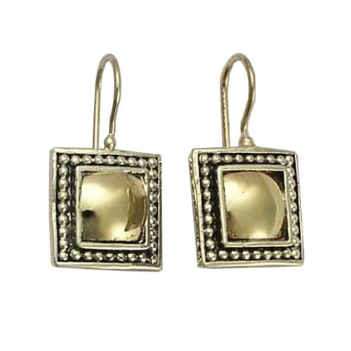 Silver and 14k Gold Square Yemenite Earrings - Baltinester Jewelry