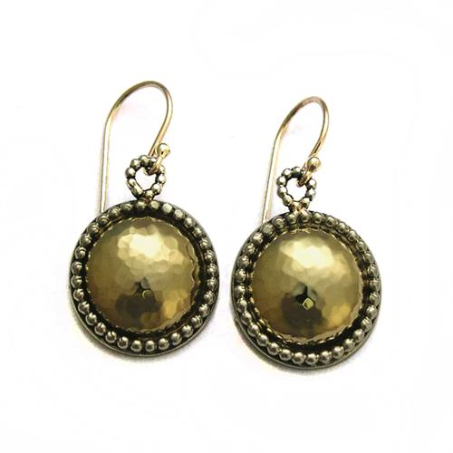 Silver and 14k Hammered Gold Yemenite Earrings - Baltinester Jewelry