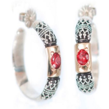 Silver and Gold Garnet Hoop Earrings - Baltinester Jewelry